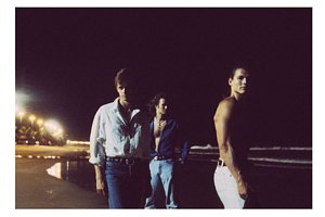 One of the photos available from the website; a-ha on a beach in Brazil, 1991.