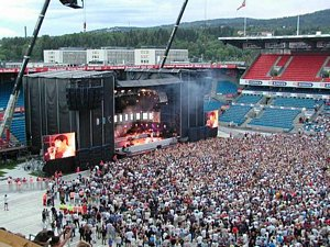 a-ha playing at Ullevaal in 2002.