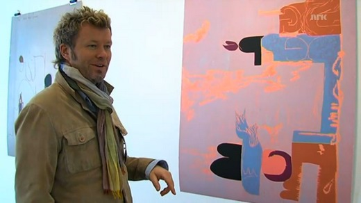 Magne in front of his version of Sgt. Pepper's Lonely Hearts Club Band.