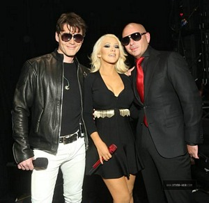 Morten, Christina Aguilera and Pitbull (Picture from xtina-web.com)