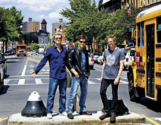 a-ha taking a break from rehearsals at Crown Heights in Brooklyn, May 4th. (Picture by Janne Møller-Hansen for VG)
