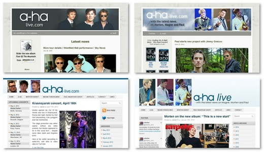 Various versions of the website; 2009 (top left), 2011 (top right), 2012 and 2014.