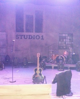 The stage at Studio 1 yesterday, with Morten's Everly Brothers guitar ready. (Picture by Valerie)