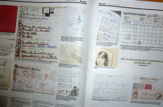 A selection of pages from Paul's notebooks are included in the Aftenposten article