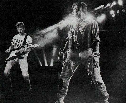 Paul and Morten on stage in Reykjavik, 17 July 1987 (Picture from the newspaper Þjóðviljinn)