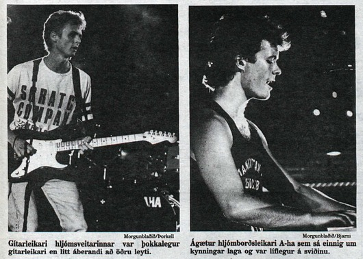 """Gítarleikari"" (guitarist) Paul and ""hljómborðsleikari"" (keyboardist) Magne in Reykjavik, 17 July 1987(Pictures from the newspaper Morgunblaðið)"