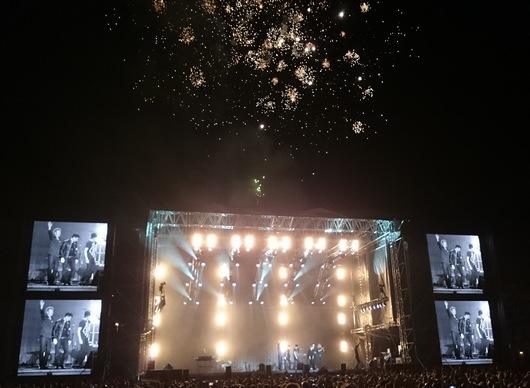 The final concert of the Cast In Steel tour ended with fireworks